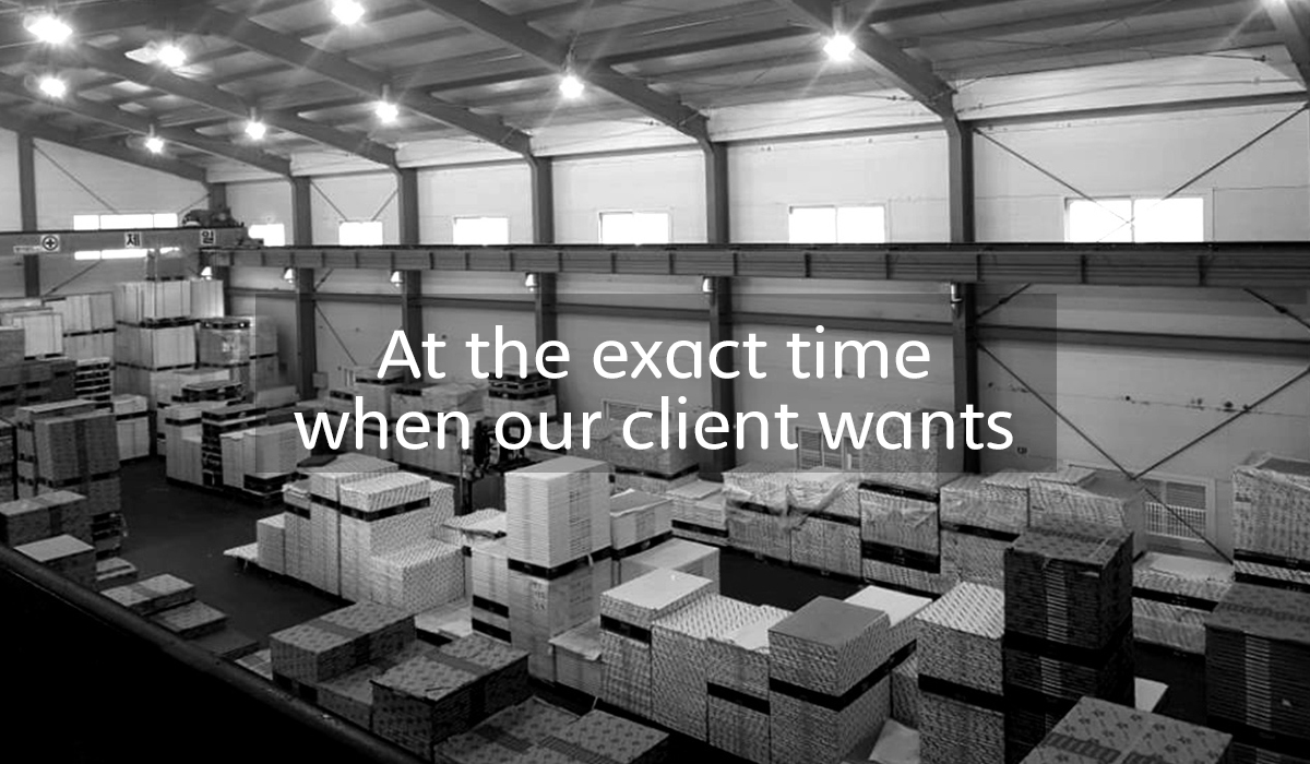 At the exact time when our client wants